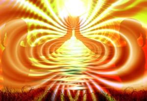 meditação posição de yoga, energia nos tons amarelo, laranja e vermelho