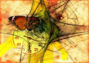 composição relógio, rosto, borboleta