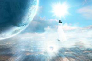 retrato de uma mulher em um campo de luz indicando ascensão